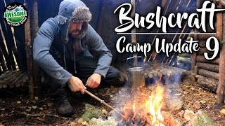 Bushcraft Camp Update 9 - FIRE, SHELTER, COOKING & LOG STORE!!