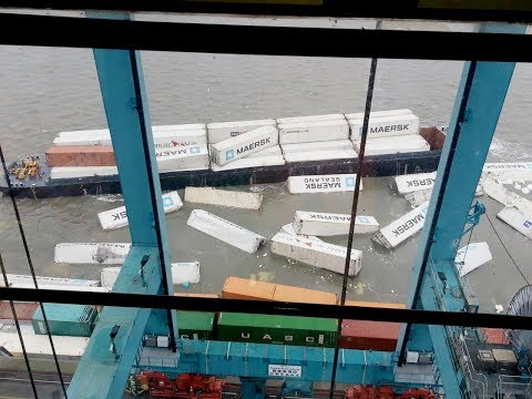 Barge ACCIDENT: MAERSK containers crash into the river.