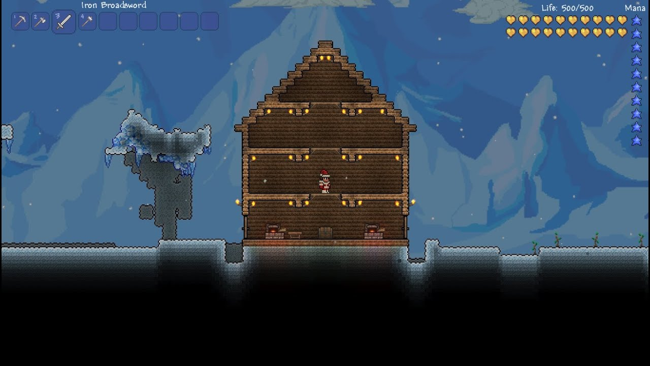 Easy terraria house defense youtube for Terraria house designs
