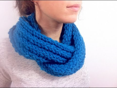 How To Loom Knit A Ribbed Infinity Scarf Diy Tutorial Youtube
