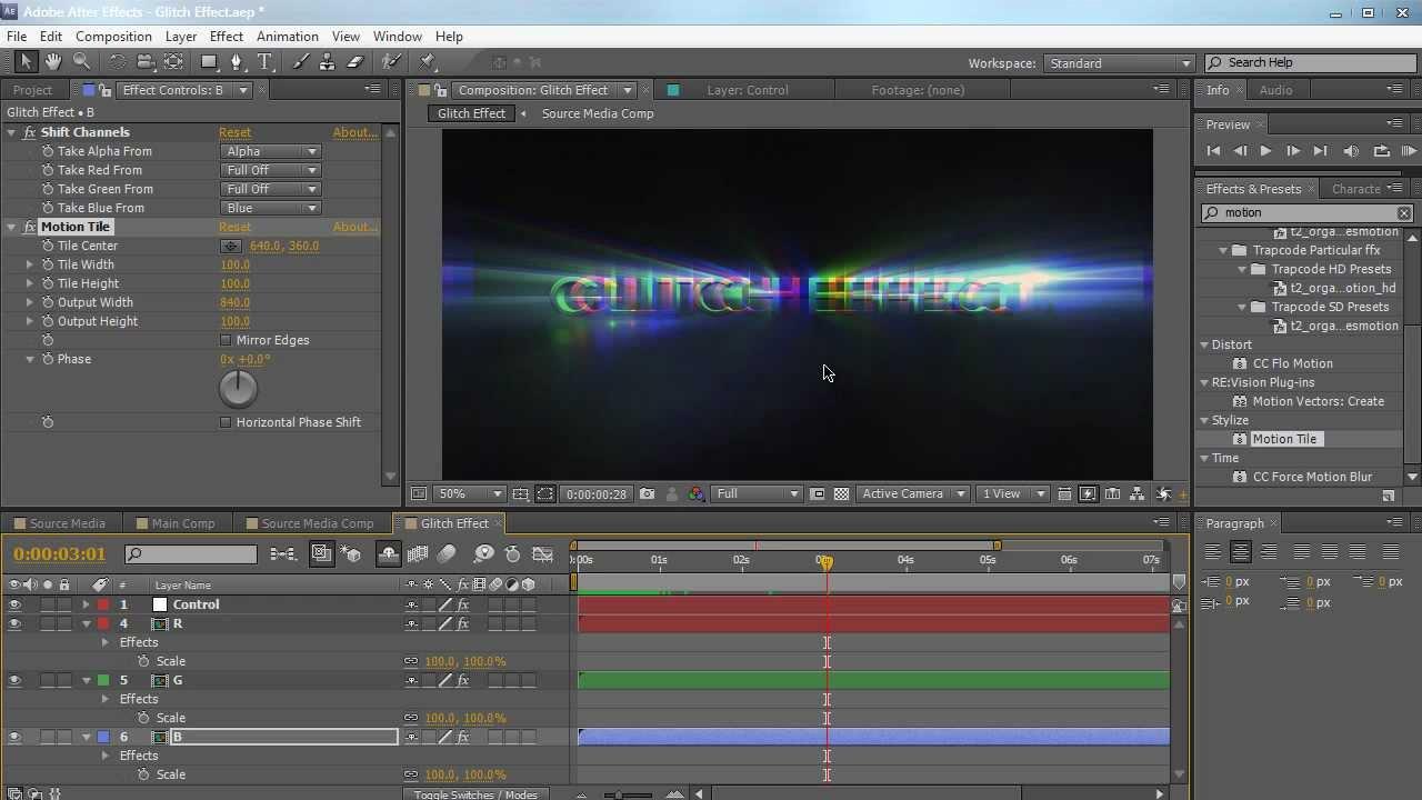 AE: Create a Glitch Effect in After Effects