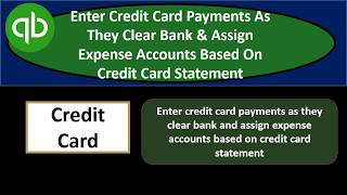 Simple Way to enter credit card payment QuickBooks
