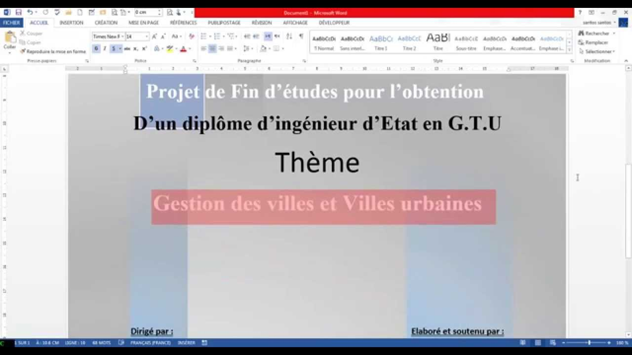 Word Page De Garde Avec Tamplete