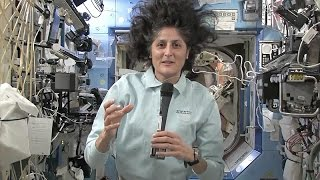 astronaut Sunita Williams drinking water and personal activities in space center