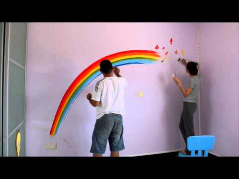 Rainbow paint on wall for Chloe's room - YouTube