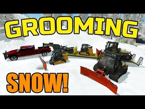 FARMING SIMULATOR 2017 | GROOMING SKI TRAILS | HAULING GROOMING EQUIPMENT IN THE SNOW