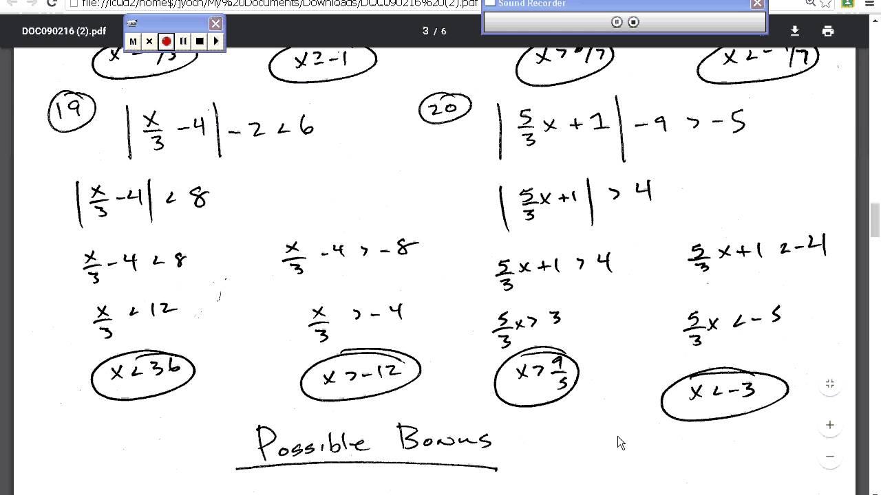 Honors Regular Algebra 2 Quiz Review 1 4 1 6 Youtube