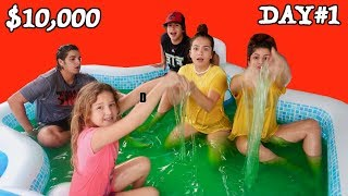 LAST TO LEAVE SLIME POOL WINS .000 DOLLAR DAY#1 | SISTER FOREVER