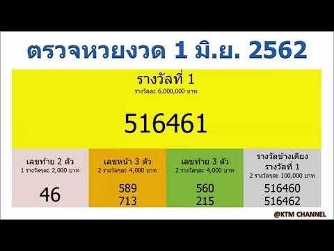 ตรวจหวยวันนี้ ผลสลากกินแบ่งรัฐบาล งวด 1/6/2562 (1 มิ.ย. 2562)