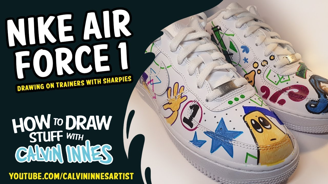 Doodling on Nike Air Force 1 trainers with Sharpies