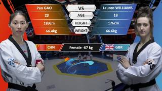 F-67kg| Lauren Williams (GBR) VS Pan Gao (CHN) | 2017-2018 Season WT Grand Slam Finals