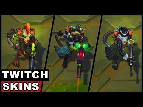 All Twitch Skins Omega Squad Gangster Vandal Medieval Pickpocket Whistler Village League of Legends