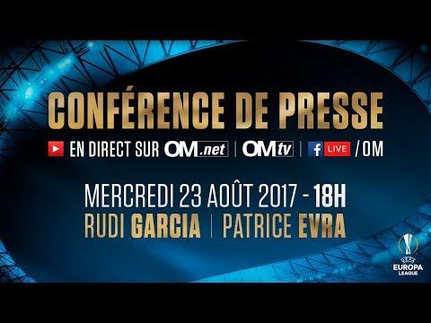 La conférence de presse de Rudi Garcia et Patrice Evra   OM - NK Domzale 🎙