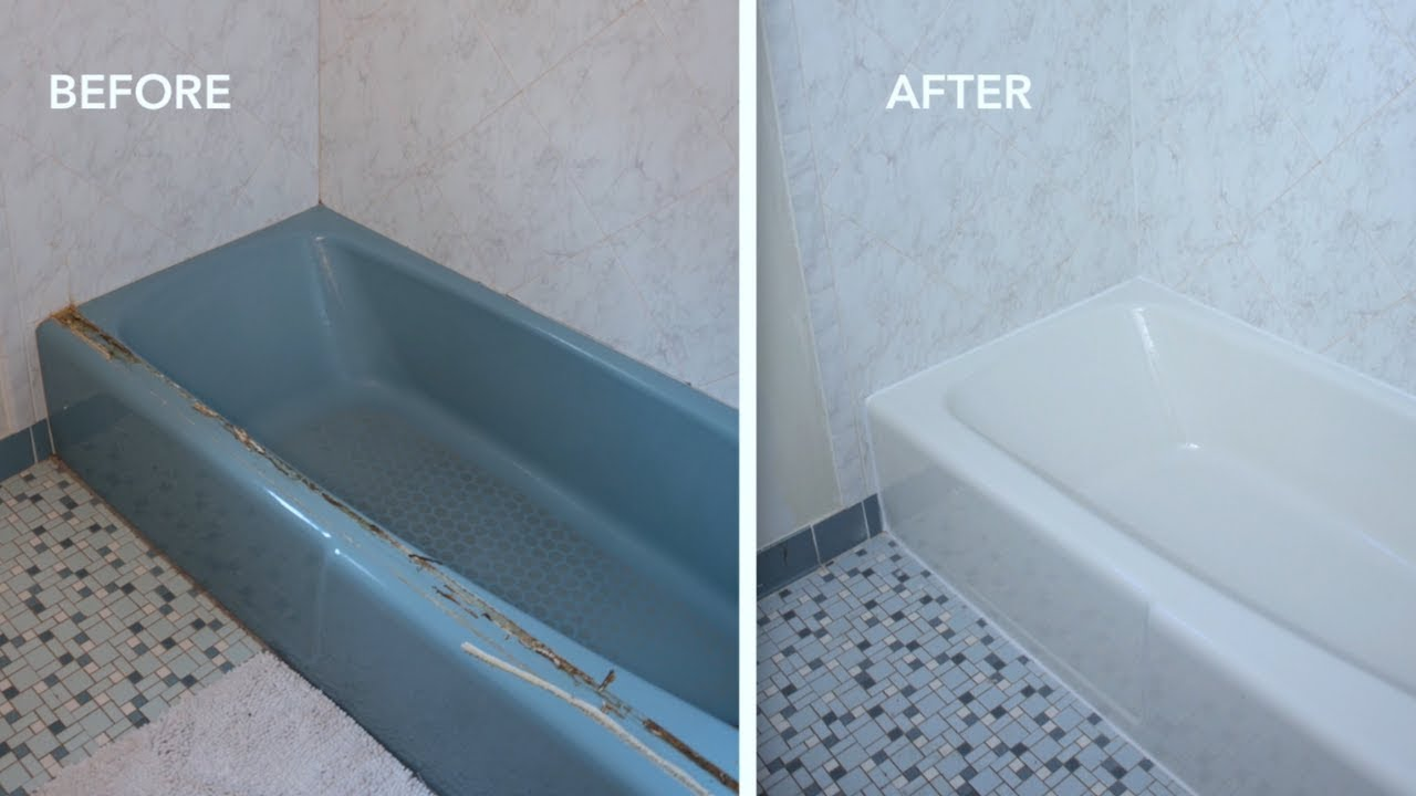 Before After How To Paint A Bathtub And Clean It Does Last