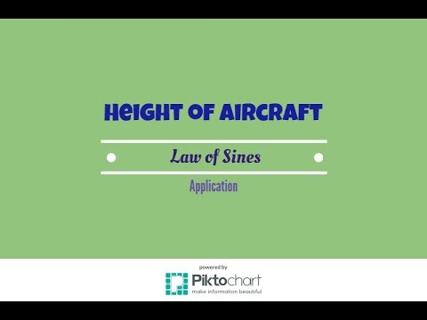 Determining the Height of an Aircraft. Law of Sines
