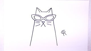 Learn How To Draw A Cool Cat -- iCanHazDraw!
