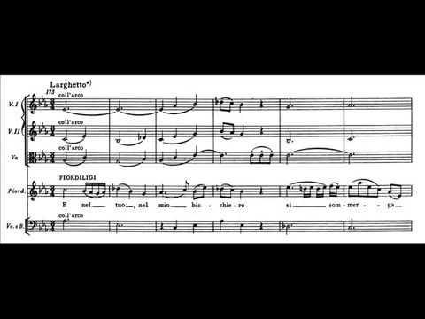 """Mozart, Così fan tutte - Quartetto """"E nel tuo, nel mio bicchiero"""" (score)"""