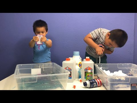 JUNIOR AND GABE MAKE SLIME ON HIDDEN CAMERA - OUR LITTLE BROTHERS MAKE SLIME ALONE