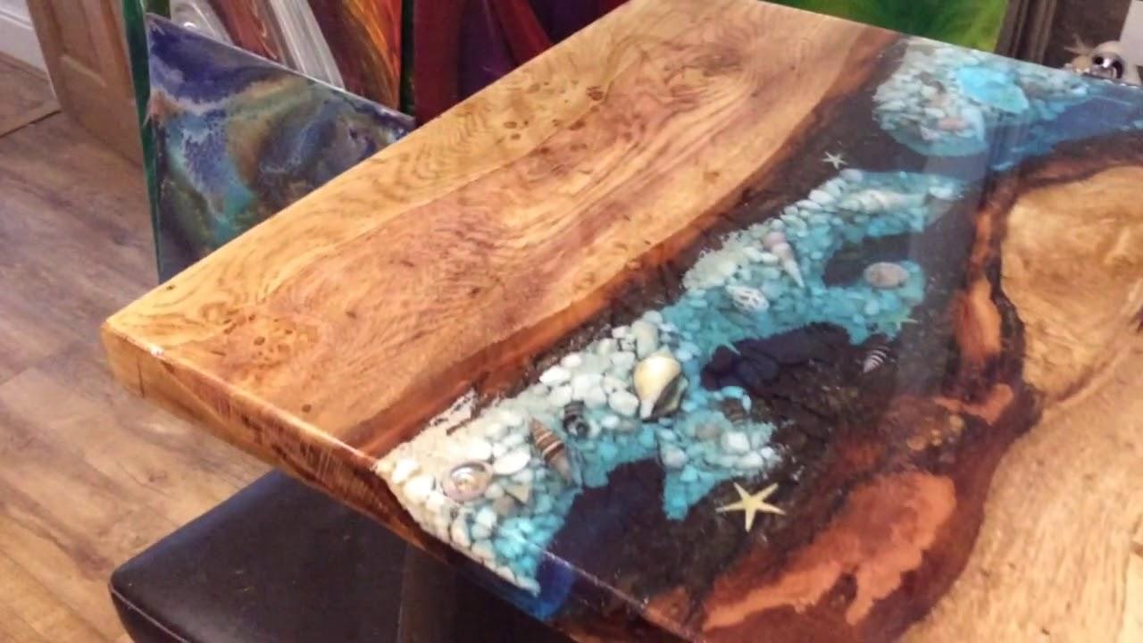 Ocean Themed Oak Coffee Table Top Youtube