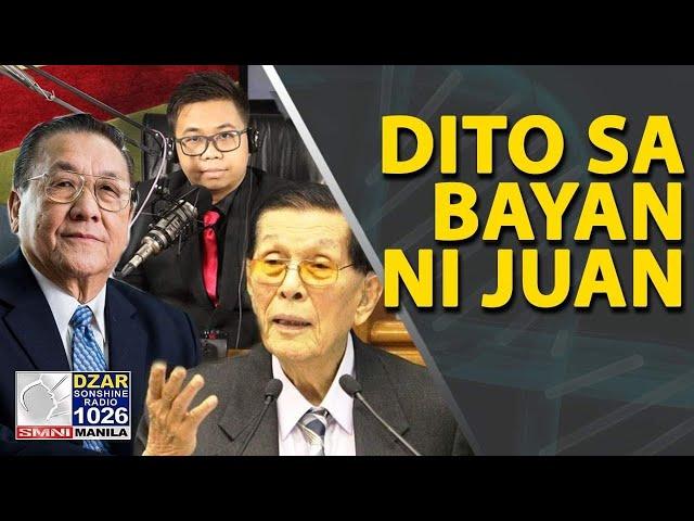 JUAN PONCE ENRILE, Jess Arranza, at Admar V. sa Dito sa Bayan ni Juan: Usapang agri at eleksyon