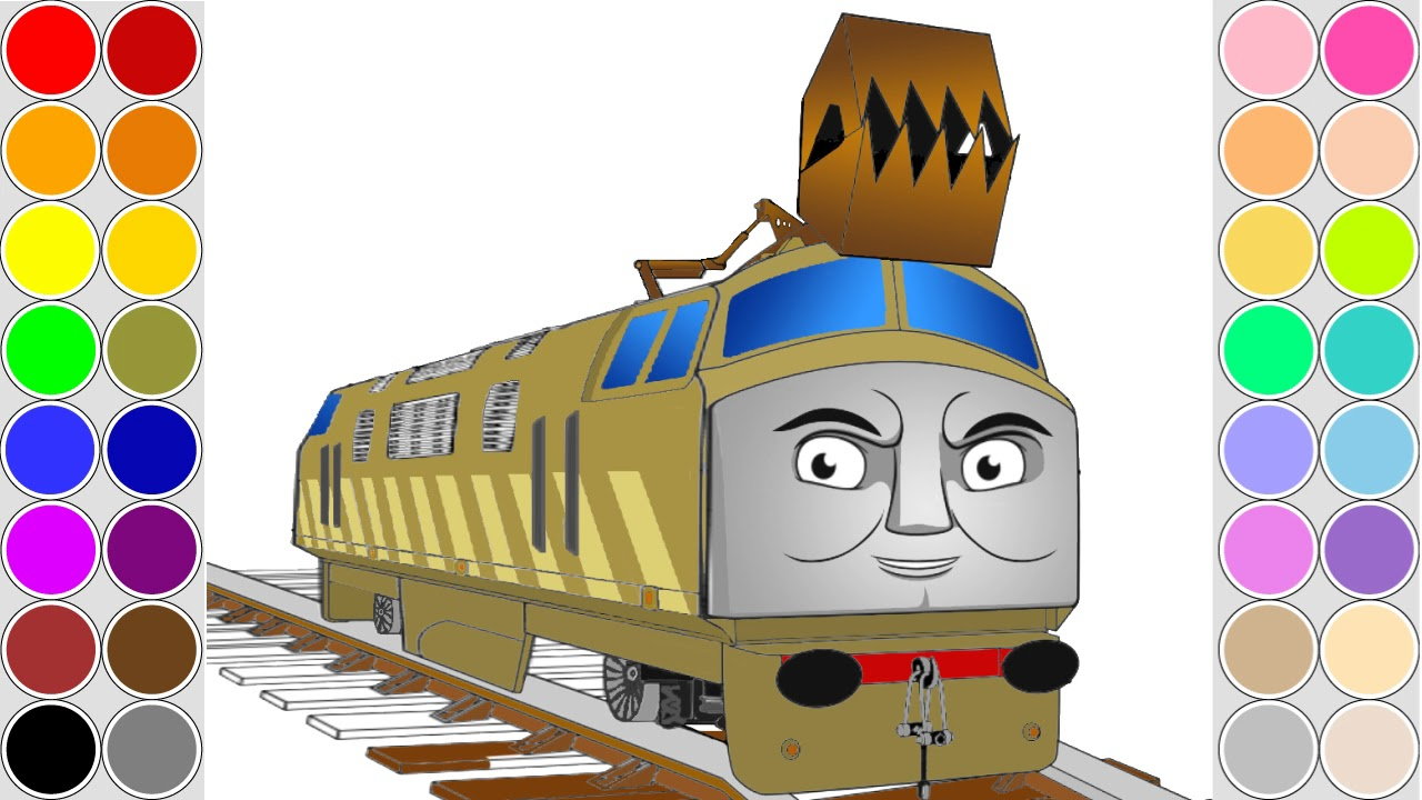Coloring DIESEL 10 train for kids. Drawing animation Thomas and ...
