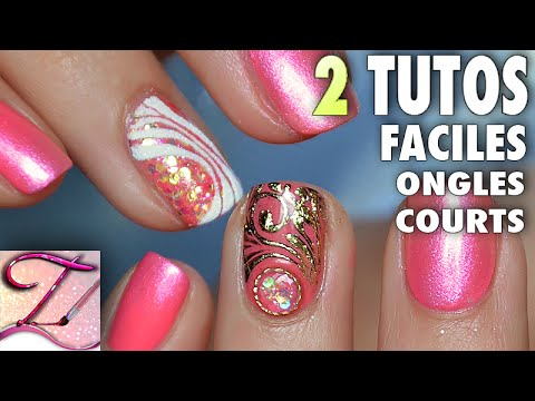 2 tutos nail art facile ongles courts en gel pour pose salon rapide youtube - Nail art facile et rapide ...