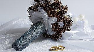DIY Свадебный букет зимний из шишек и бусин  wedding bouquet