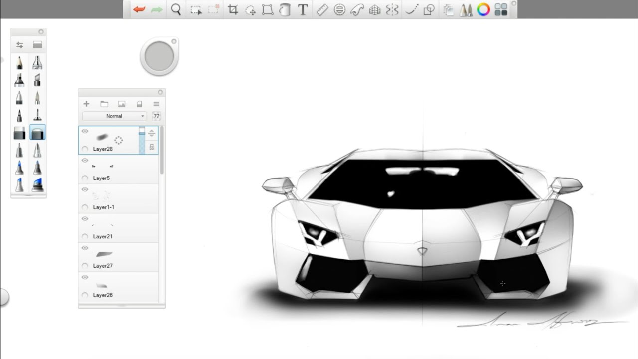 Simple automotive sketch lamborghini aventador lp700 4