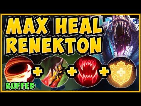 NEW BUFFED RENEKTON Q + MAX HEALING RUNES = AN UNTOUCHABLE CROC! RENEKTON GAMEPLAY League of Legends