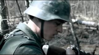 German soldier treads on mine