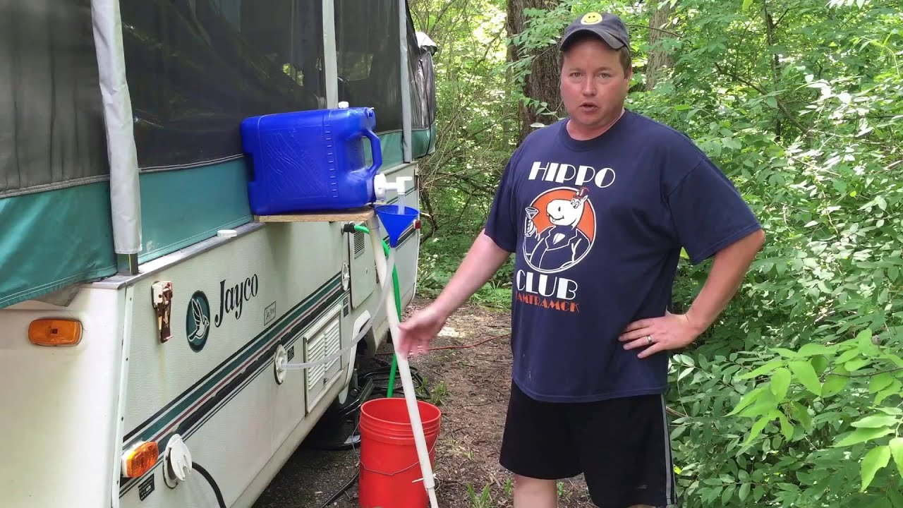 Easy pop-up camper water tank refill - YouTube
