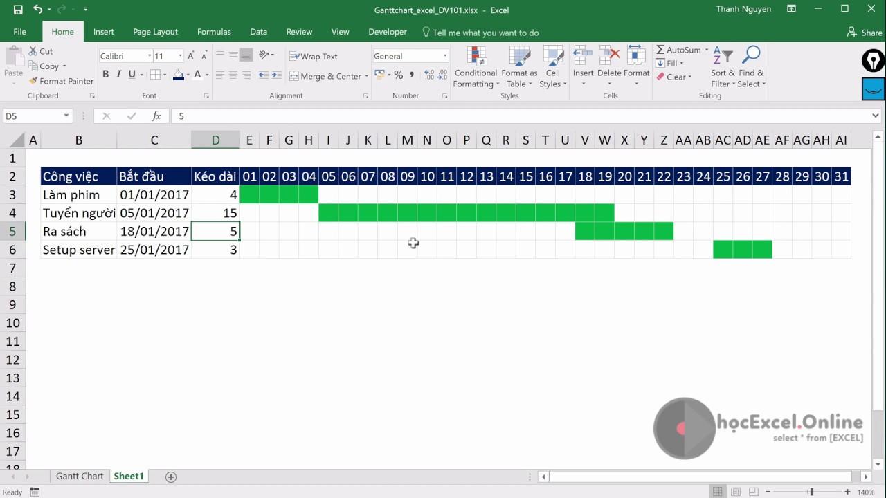 Hướng dẫn Tạo Gantt Chart tiến độ công việc quản lý dự án trong Excel