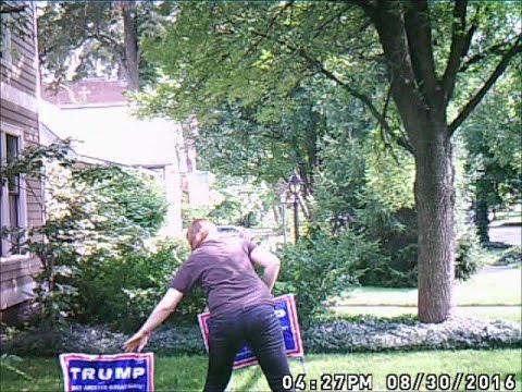 Trump sign thief fail: Woman tries to steal Trump campaign sign tied down by wire