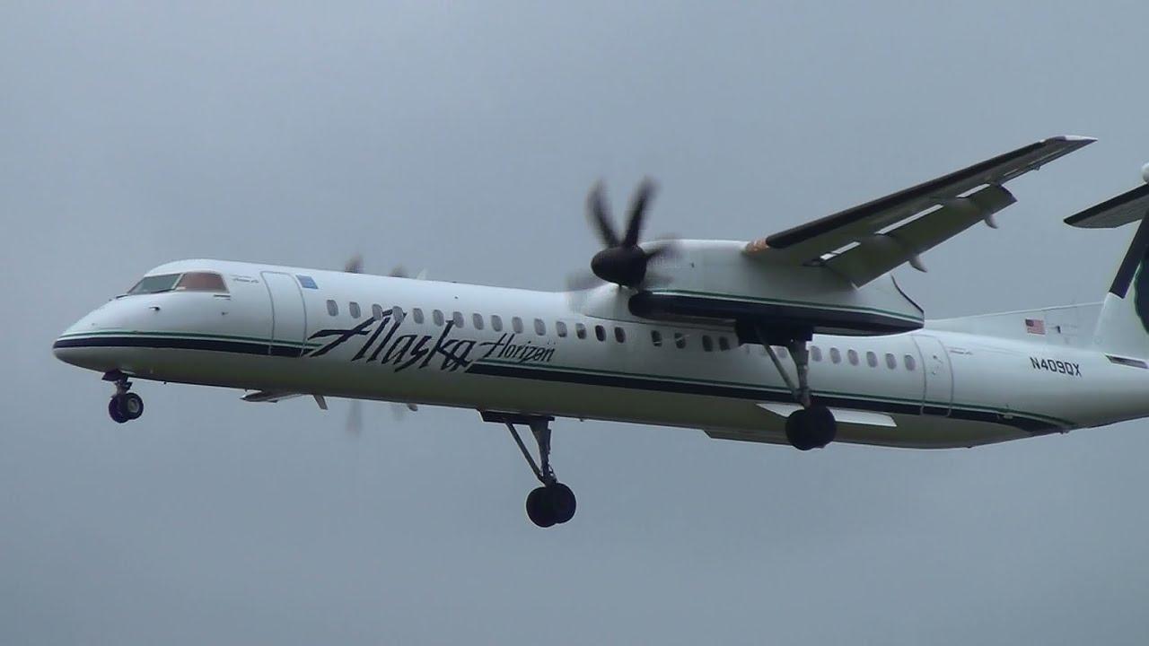 Alaska Airlines Horizon Air N409qx Q400 Landing Portland