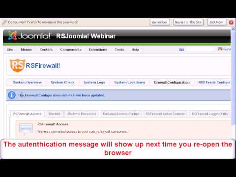 Joomla! Additional Backend Password With RSFirewall!