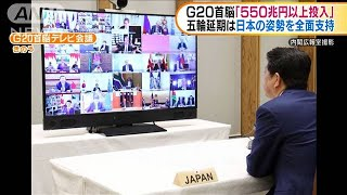 G20首脳「550兆円以上投入」 日本の姿勢を全面支持(20/03/27)