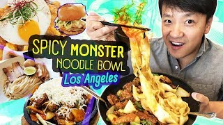 SPICY MONSTER NOODLE BOWL & Greater Los Angeles Food Tour (f...