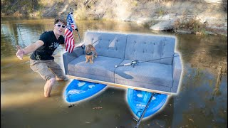 IT WORKED! Turning a COUCH Into a BOAT! (Part 2)