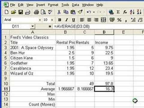 microsoft excel tutorial for beginners 4 functions formulas
