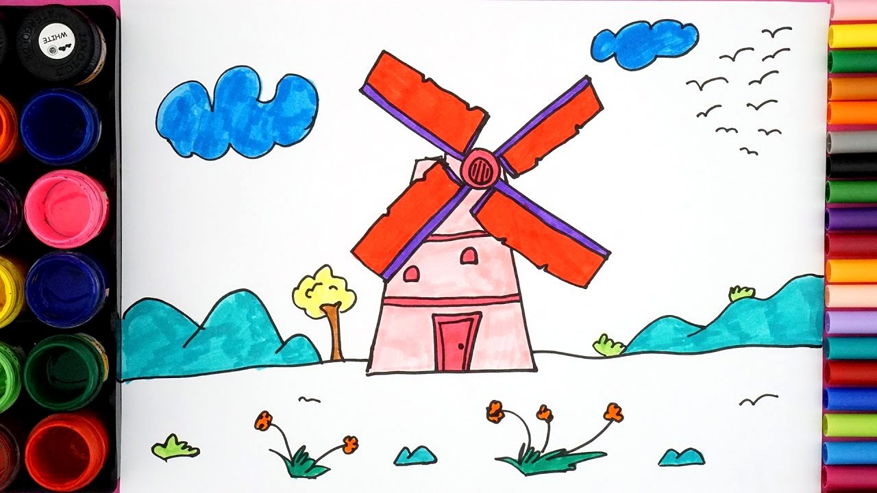 This is a photo of Critical Windmill Drawing Easy