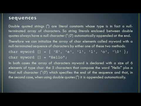 Character Sequences - C++  (Initialization of null-terminated, Using null-terminated)