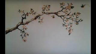 Роспись стен. Ветка сакуры. Одесский художник
