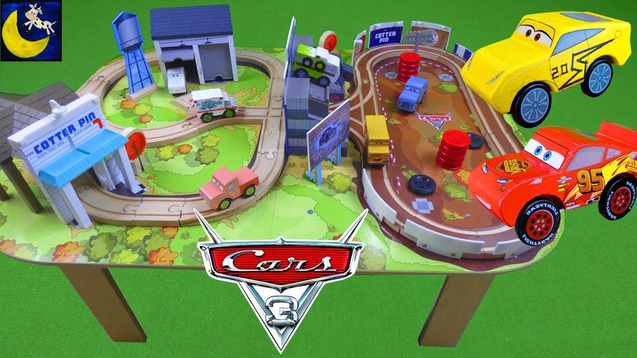 Disney Cars 3 Toys Kidkraft Thomasville Wooden Train Track Set And Table Lightning Mcqueen Cruz Toys