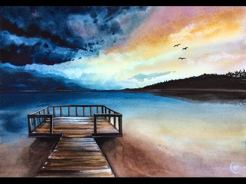 Watercolor Sunrise by the Sea Real Time Painting Video Demonstration