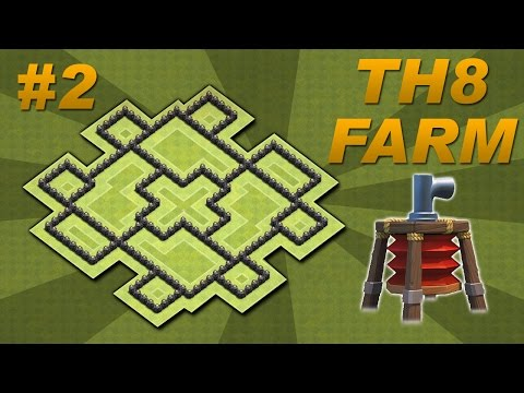 BEST Town Hall 8 (TH8) Farming Base Design -Air Sweeper + 4 Mortars (Clash of Clans) Setup #2
