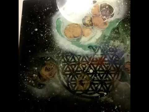 GLOWING flower of life with minerals infused in artresin