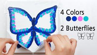 (307) 4 Colors 2 Butterflies | Reverse dip technique | Fluid Acrylic Pouring | Designer Gemma77