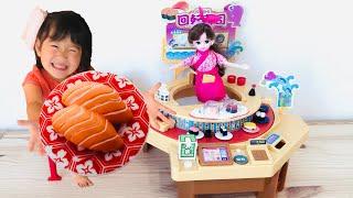 本物そっくり!リカちゃんくるくる回転寿司のおもちゃでおすしやさんごっこ!