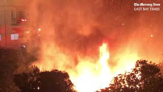 Raw video: Fire erupts in San Francisco near Alemany Boulevard