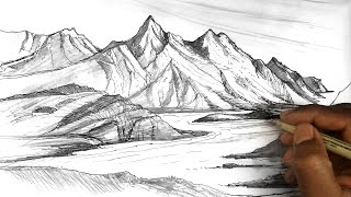 How to draw mountains | Mountain sketches